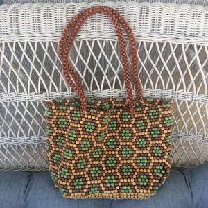 Handbags - Vintage Wooden Beaded Market Bag